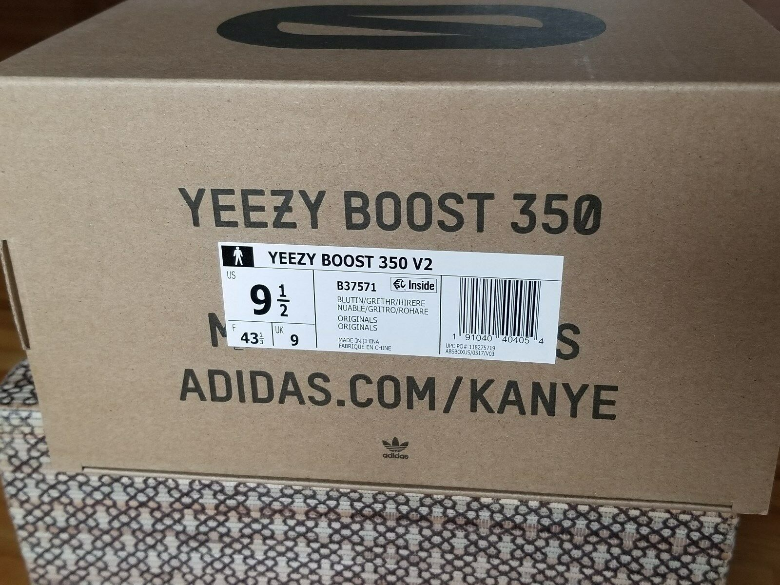 Adidas Yeezy Boost 350 V2 Blau Getönt Grau Rot B37571 Vorrat Neu Box Größe 9.5 image 9