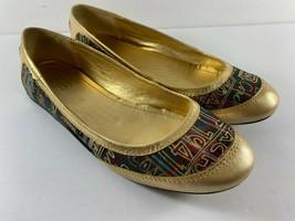 COACH Ballet Flats Gold Tartan Plaid True Graffiti Logo Shoes US 7.5 B S... - $49.49