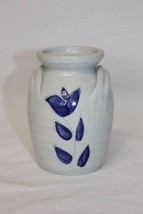 """Vintage Williamsburg Pottery Vase, Blue Floral Clay Pot, 4 3/4"""" tall  - $9.66"""