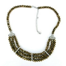 2028 1928 Jewelry Brand Bronze Copper Faceted Glass Beaded Rhinestone Necklace - $24.24