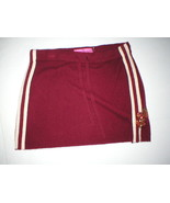New Womens 100% Cashmere Skirt Juicy Couture Dark Red Off White Stripes ... - $119.20