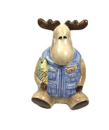MCE Edi Sausalito moose Fisherman multicolor ceramic RARE vintage Cookie Jar - $98.99