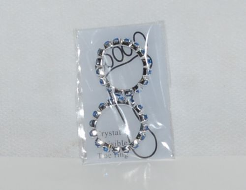 Light Blue Rhinestones Silver Color Toe Rings Single Wide Two per Package
