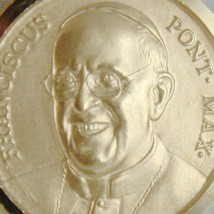 SOLID 18K YELLOW GOLD POPE FRANCIS FRANCESCO FRANCISCO 17 MM MEDAL MADE IN ITALY image 2
