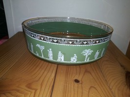 Wedgwood Jasperware Helenic Jeanette Glass Salad Fruit Bowl Hollywood Regency - $23.74