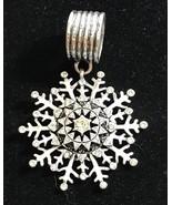 silver tone scarf ring slider snowflake Star Rhinestone - $14.80