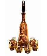 Bohemia Glass Decanter Six Glasses Smokey Glass Gold Floral Trim Czechos... - $123.74