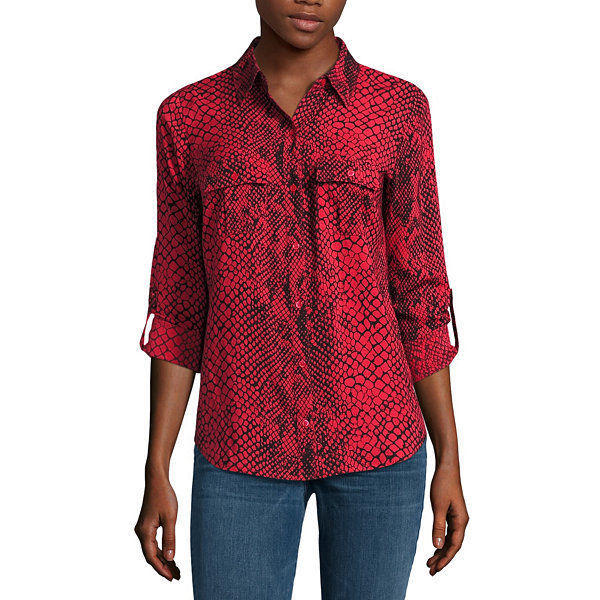 a.n.a Long-Sleeve Front-Tab Blouse Size PS New Snake Charmer Msrp $44.00