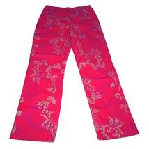 LEILEI Womens Stretch Jeans 10 Red Fleur-de-Lis Pattern 5-pocket High-ri... - $21.24