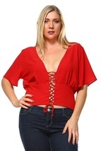 Red Lace Crop Top Plus Size Shirt Fashion Los Angeles Fifth Degree - 3X - $14.99