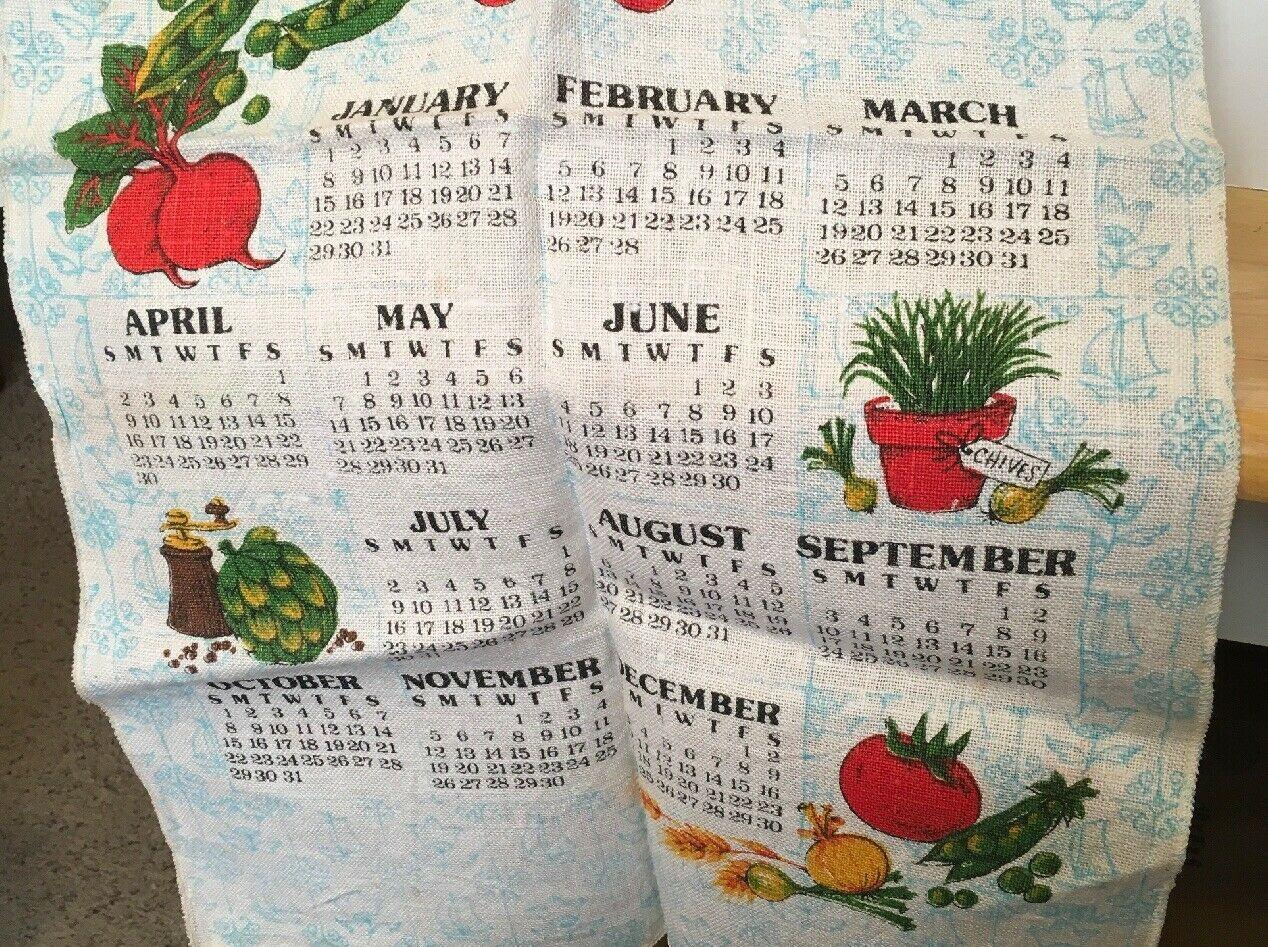 1978 Vtg Calendar w/ Veggies Tea Towel image 3