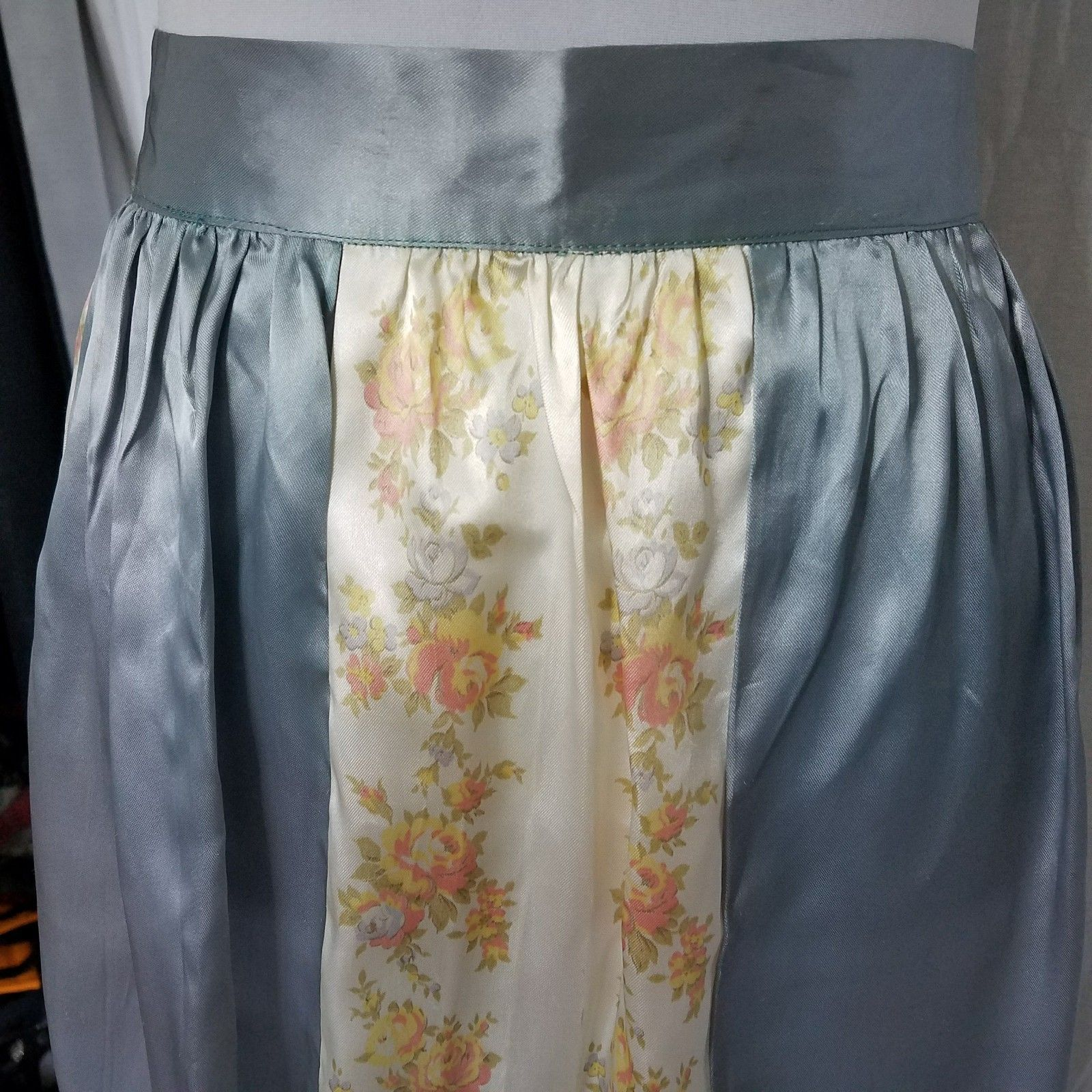 1950 Hostess Half Apron Icy Blue Yellow Floral Satin Panels Ties in Back  Bow