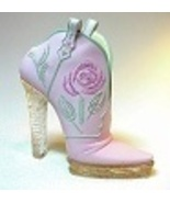Glittering Cowgirl Pink High Heel Cowboy Boot with Twist Just the Right ... - $29.99