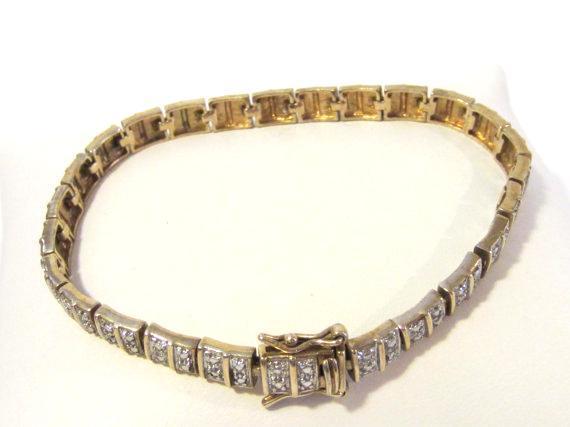 Sterling silver 925 yellow & whitetone bracelet 7.8'' long