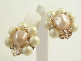 Pale Satin PINK Pearly White CLUSTER Clip on Earrings Japan Glass Bead V... - $13.85