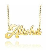 Personalized Name Necklace 24k Gold Plated Custom Nameplate  Alisha - $26.57