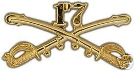 ARMY 17TH CAVALRY GOLD LAPEL HAT PIN - $13.53