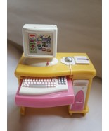 LOVING FAMILY COMPUTER DESK PULL OUT KEYBOARD DOLL HOUSE MINIATURE MATTE... - $9.86