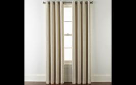 (1) NEW JC PENNEY Sullivan Stripe Raffia Multi Blackout Grommet Curtain ... - $65.44