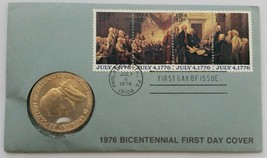 1976 Thomas Jefferson Bicentennial First Day Cover Stamps with Bronze Coin - $18.37