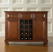 Buffet Server Sideboard Cabinet Solid Wood Cherry Wine Rack Storage Dini... - $460.43
