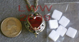 Red Heart Aromatherapy Locket with 6 scent pads & Chain - $16.75