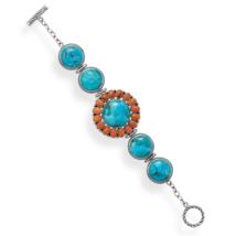 Turquoise and Coral Sunburst Design Toggle Bracelet - $389.95