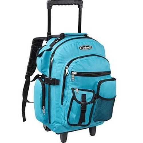 Rolling Wheeled Backpack College School Bookbag Travel Carry On Tote Bag Blue