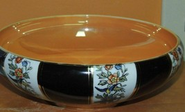 """Hand Painted Noritake curved-rim round Bowl 9"""" Birds & Flowers on Black w/Gold - $17.99"""