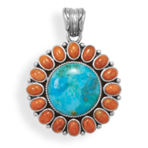 Turquoise and Coral Sunburst Design Pendant - $189.95