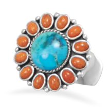 Turquoise and Coral Sunburst Design Ring - £81.49 GBP