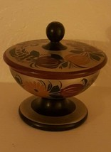 Wood Hand Painted Laquer Compote w/ Lid  - $19.80