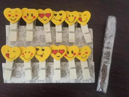 12pcs Facial Expressial Wooden Paper Pegs,Pin Clothespin,Wooden Photo Clips - $3.20