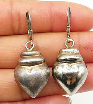 925 Sterling Silver - Vintage Smooth Puffy Love Heart Dangle Earrings - E4565 - $28.25
