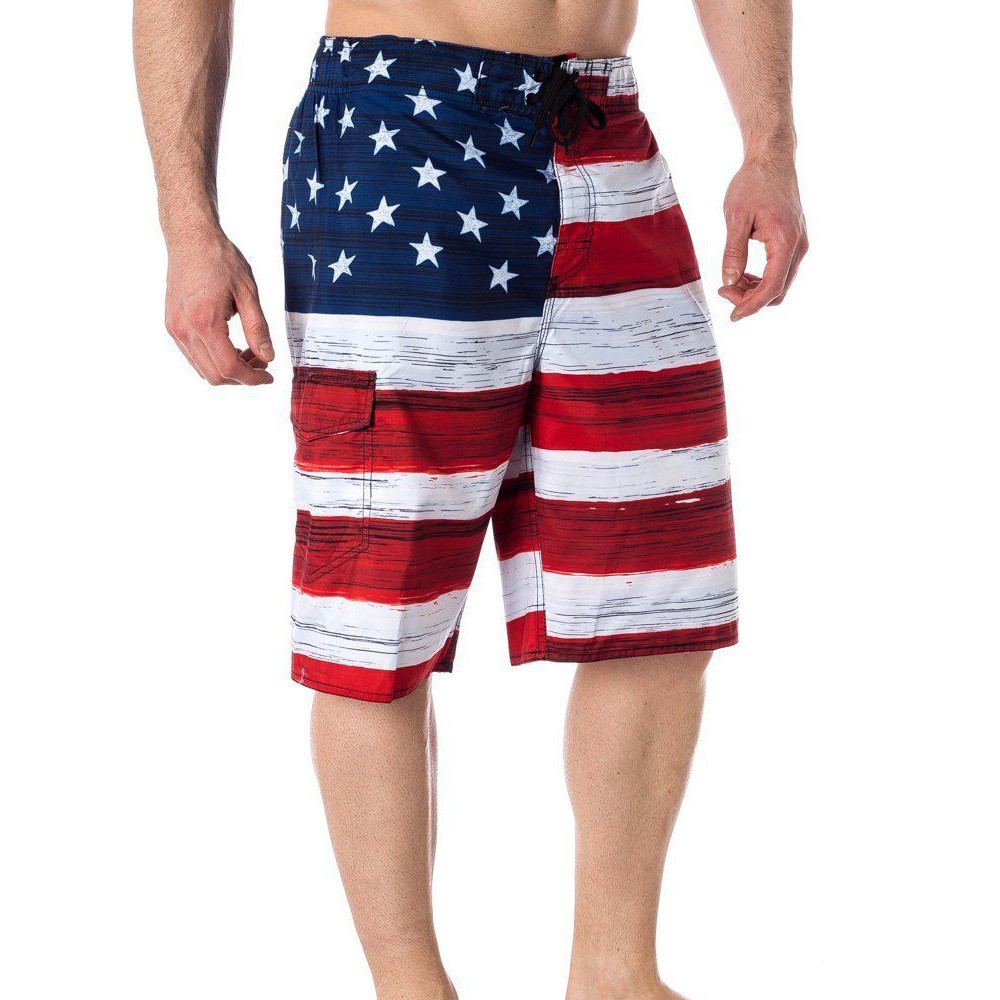 USA American Flag Men's Old Glory Board Shorts Patriotic Swim Trunks (S-2XL)