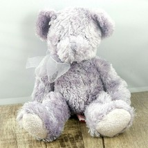 Vintage Russ Berrie Lavinia Lavender Purple Plush Bear with Bow Stuffed Animal - $8.86