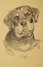 Rottweiler dog art Portrait Print #54 Kline adds dog name free. Drawn fr... - $49.45
