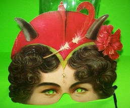 Halloween Masquerade Victorian She Devil Party Costume Paper Embossed Ma... - $32.44 CAD