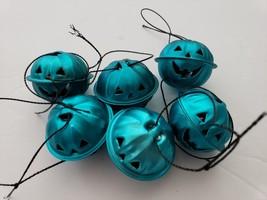 Halloween Pumpkin Turquoise Mini Bell Tree Ornaments Decorations Set of 6 - $9.99