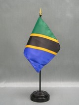 "Tanzania 4X6"" Table Top Flag W/ Base New Desk Top Handheld Stick Flag - $4.95"