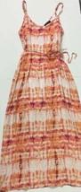 Forever 21 Orange Pink Tie Dye Waist Tie Maxi Full Length Dress Plus Siz... - $18.02