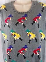 Hunters Run Gray Sweater Vest with Girl in Rain Gear Size S Small 100% C... - $14.31