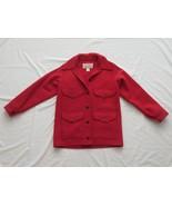 Vtg CC Filson Women's Red Wool Mackinaw Hunting Wool Jacket 12 USA Lot #110 - $189.99