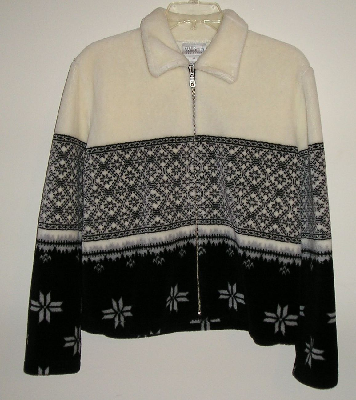 Willi smith women s canadian zip up fuzzy soft whiteblack jacket m  1
