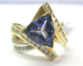 18Kt Natural Trillion Tanzanite & Diamond 2-Tone ByPass Ring 4.50Ct - $3,066.36
