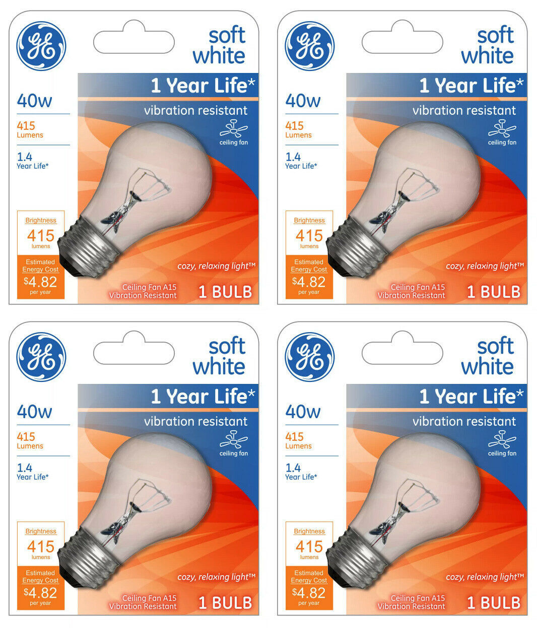 Lot 4 GE 99420 A15 Incandescent A-Line Ceiling Fan Bulb Crystal Clear 355 Lumens