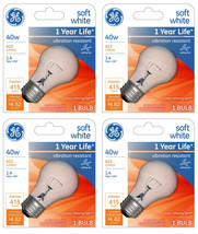 Lot 4 GE 99420 A15 Incandescent A-Line Ceiling Fan Bulb Crystal Clear 355 Lumens image 1