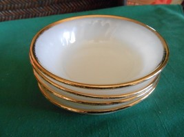 "Great FIRE KING ""Swirl"" Gold Trim- Set of 4 BERRY BOWLS - $6.64"