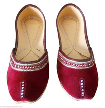 Women Shoes Mojari Indian Handmade Maroon Jutties Leather Flip Flops US 5   - £20.43 GBP