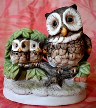 Homco Owl with  2 Baby Owls Wildlife Figurine  4 inches tall and 4 inches wide - $11.87